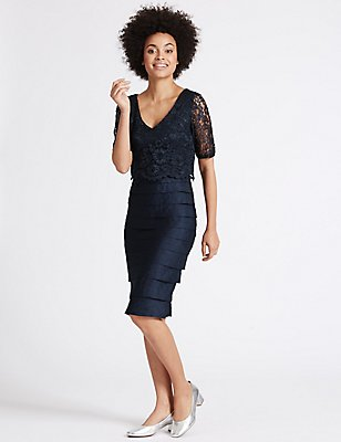 Shutter Pleat Floral Lace Shift Midi Dress, DARK NAVY, catlanding