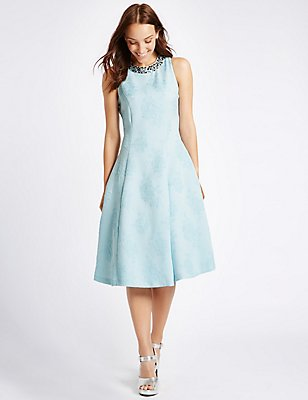 Textured Jewel Neck Prom Skater Dress, PALE BLUE, catlanding