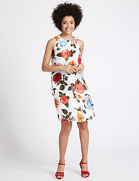 Floral Print Double Layer Tunic Dress, IVORY MIX, catlanding