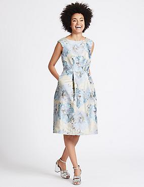 Floral Print Skater Dress, BLUE MIX, catlanding
