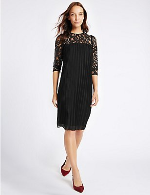 Lace Pleated 3/4 Sleeve Tunic Midi Dress, BLACK, catlanding