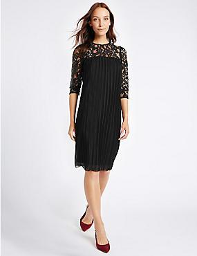 Lace Pleated 3/4 Sleeve Tunic Midi Dress, BLACK, catlanding