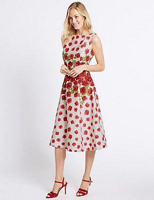 Rose Print Prom Skater Midi Dress, RED MIX, catlanding