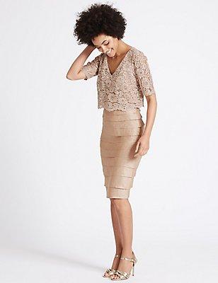 Shutter Pleat Floral Lace Shift Midi Dress, CHAMPAGNE, catlanding