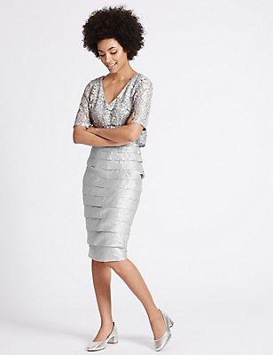 Shutter Pleat Floral Lace Shift Midi Dress, SILVER GREY, catlanding