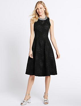 Textured Jewel Neck Prom Skater Dress, BLACK, catlanding