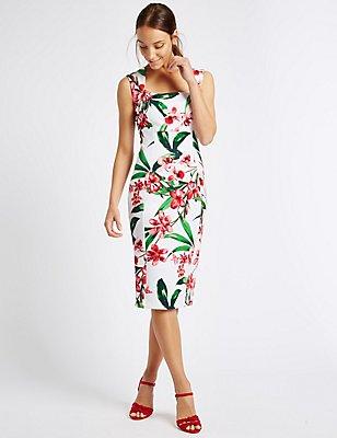 Floral Print Split Back Shift Midi Dress, IVORY MIX, catlanding