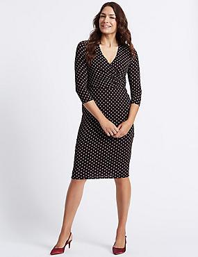 Spotted 3/4 Sleeve Wrap Midi Dress, BLACK MIX, catlanding