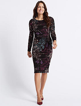 Printed Long Sleeve Bodycon Midi Dress, BLACK MIX, catlanding