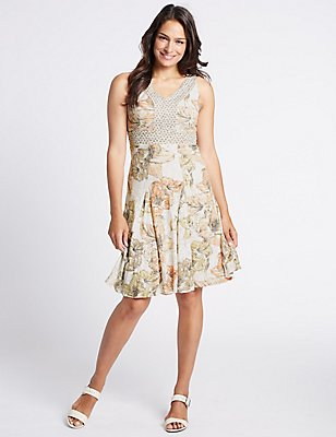 Burnout Floral Print Shift Midi Dress, IVORY MIX, catlanding