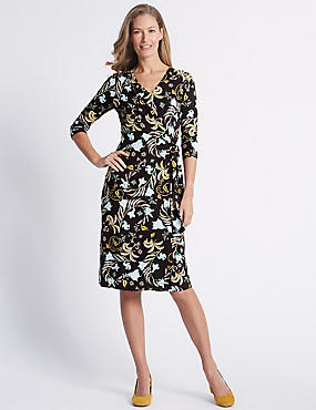 Printed Knot Front Bodycon Midi Dress, BLACK MIX, catlanding