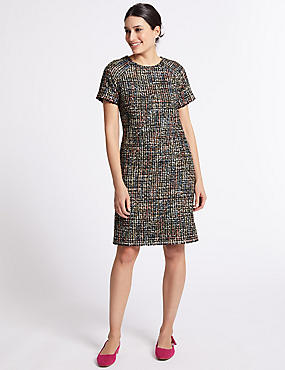 Tweed Short Sleeve Shift Dress, MULTI, catlanding