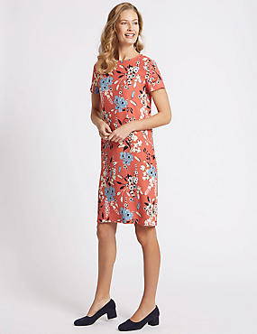 Floral Print Short Sleeve Tunic Dress, CORAL, catlanding