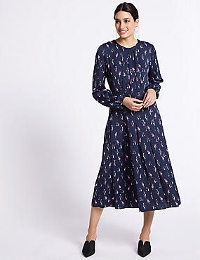 Satin Cat Print Long Sleeve Swing Dress, NAVY MIX, catlanding