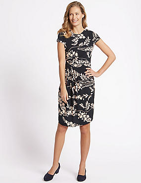 Floral Print Short Sleeve Wrap Dress, BLACK MIX, catlanding