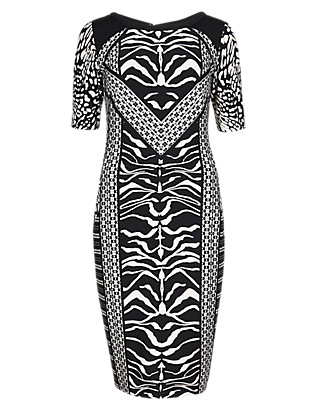 Drop a Dress Size Mixed Tribal Print Bodycon Dress Clothing