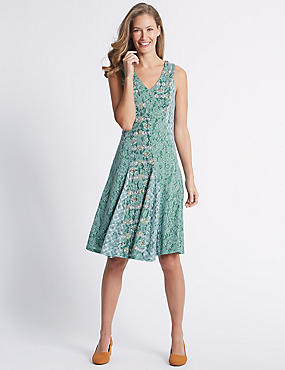 Burnout Print Sleeveless Skater Midi Dress, MINT MIX, catlanding