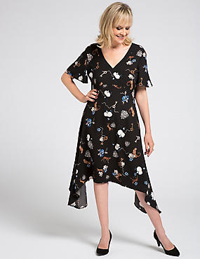 Printed Hanky Hem Tunic Midi Dress, BLACK MIX, catlanding