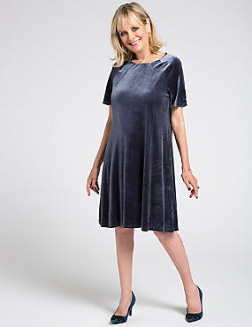 Velvet Short Sleeve Shift Midi Dress, GREY, catlanding