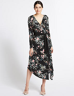Floral print Long Sleeve Wrap Maxi Dress , BLACK MIX, catlanding