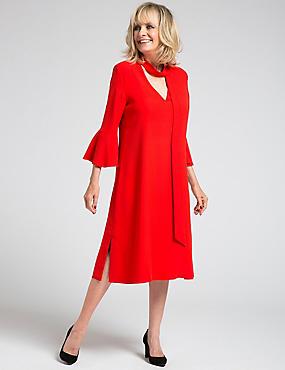 Flute Sleeve Tie Neck Tunic Midi Dress, RED, catlanding