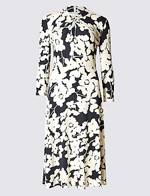 Floral Print 3/4 Sleeve Shift Dress, MULTI, catlanding