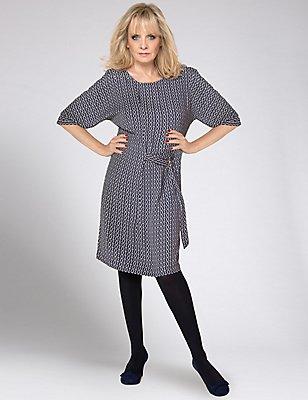 Printed Half Sleeve Shift Dress with Belt , NAVY MIX, catlanding