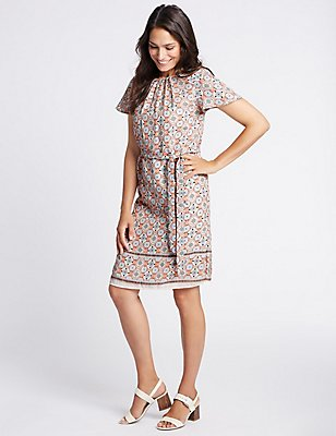 Printed Tie Waist Tunic Midi Dress, IVORY MIX, catlanding