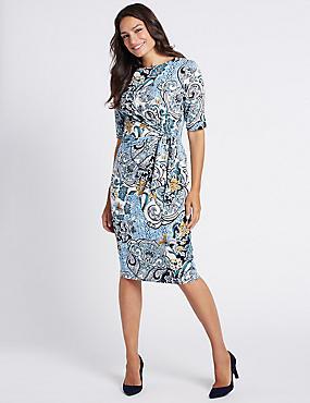 Ruched Paisley Print Shift Midi Dress, BLUE MIX, catlanding