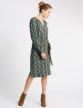 Long Sleeve Shirt Dress, MULTI, catlanding