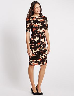 Dye Print Half Sleeve Bodycon Dress, CHOCOLATE MIX, catlanding