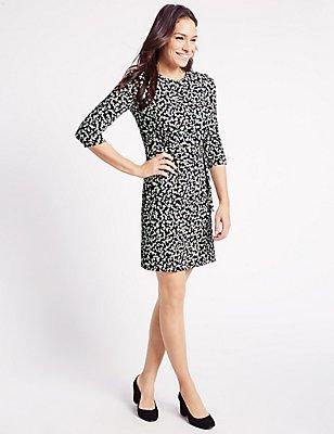 Printed 3/4 Sleeve Shift Dress, NAVY MIX, catlanding