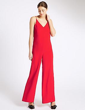 Rode jumpsuit zonder mouwen, ROOD, catlanding