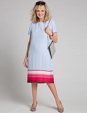 Striped Hem Short Sleeve Tunic Dress, BLUE MIX, catlanding