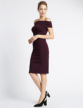 Bardot-jurk met bodycon-vorm zonder mouwen, ZWARTE BES, catlanding
