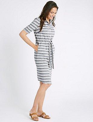 Cotton Rich Striped Tie Detail Shirt Dress, MULTI, catlanding