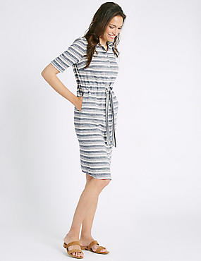 Cotton Rich Striped Tie Detail Shirt Dress, MULTI, catlanding