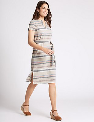 Cotton Rich Striped Shift Dress, NAVY MIX, catlanding