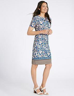 Jasmine Print Short Sleeve Tunic Dress, NAVY, catlanding