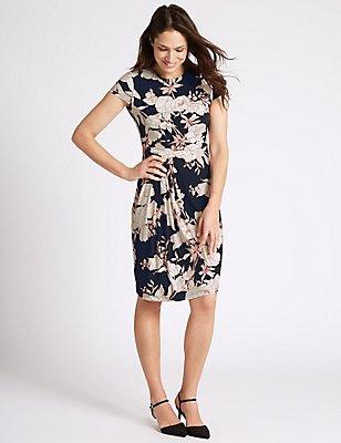Floral Print Drape Waist Shift Dress, TURQUOISE, catlanding