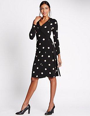 Spotted Long Sleeve Shift Dress, BLACK MIX, catlanding
