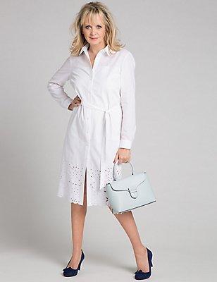 Pure Cotton Cutwork Shirt Dress with Belt, SOFT WHITE, catlanding