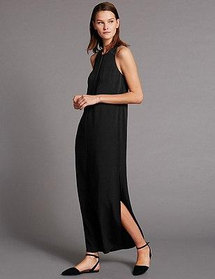 Loose Fit Column Maxi Dress, BLACK, catlanding