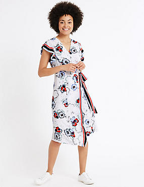 Floral Print Wrap Shift Midi Dress, MULTI, catlanding