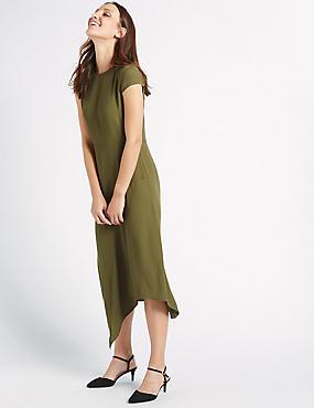 Asymmetric Cap Sleeve Midi Dress, KHAKI, catlanding