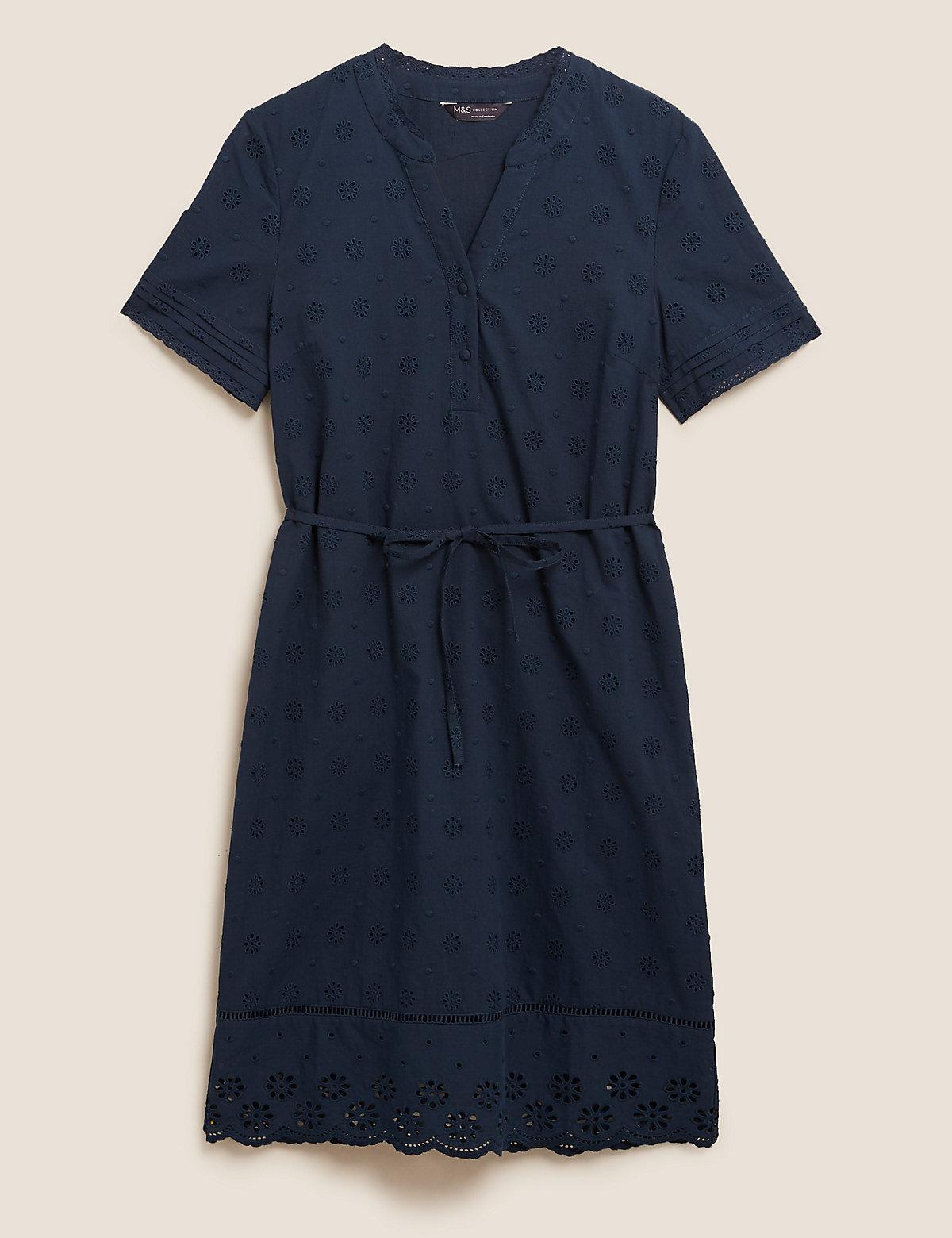 Платье прямого кроя из чистого хлопка с отделкой Broderie