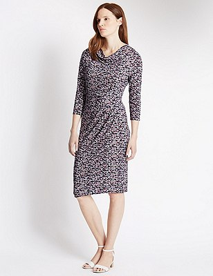 Tailored Fit Spotted Shift Dress, PINK MIX, catlanding