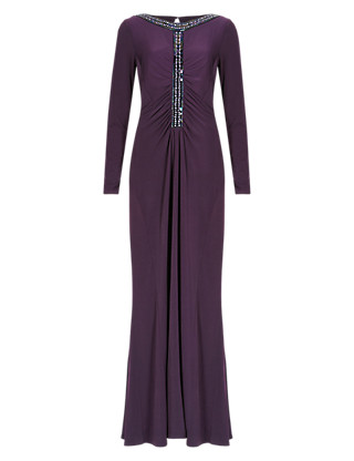 Jewel Embellished Ruched Maxi Dress ONLINE ONLY Clothing
