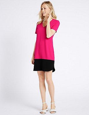 Colour Block Short Sleeve Tunic Dress, PINK MIX, catlanding