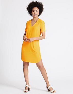 Short Sleeve Tunic Dress, BUTTERCUP, catlanding